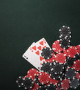 Texas holdem poker cards and Casino chips Royalty Free Stock Photo
