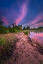 Texas lake sunrise vivid over benbrook with colorful reflections on the water Stock Photo