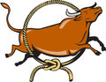 Texas longhorn red bull jumping lasso cartoon illustration of a over rope circle viewed from side set on white background done in Stock Photography