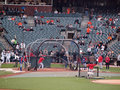Texas rangers batter take batting practice san francisco ca october from coach ron washington before the start of game world Royalty Free Stock Photo