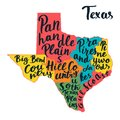 Texas State map. Hand lettering.