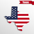 Texas State map with US flag inside and ribbon