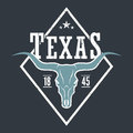 Texas state tee print with longhorn skull.