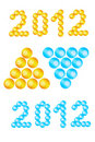 Text 2012 - digits made with balls, heaps of balls Royalty Free Stock Images