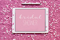 Text bridal shower in a tablet computer Royalty Free Stock Photo