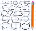 Text bulbs on notebook paper. VECTOR. Set of frames with realistic pencil. Royalty Free Stock Photo