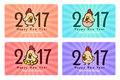 2017 text and cute rooster chicken cartoon banner 4 style vector design
