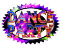 Text dance party on neon circle on white background Royalty Free Stock Photo