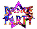 Text dance party on a neon star on a white background Royalty Free Stock Photo