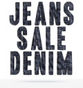 The text of the denim texture advertising material with fringe Stock Images