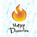 Text and fire. Postcard for holiday in India. Happy Dussehra