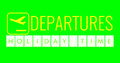 Text flip of board of airport billboard departures with words name holiday time on chroma key green screen background Royalty Free Stock Photo
