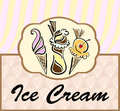 Text frame with abstract ice cream symbols and pattern background Stock Photography