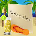 Text frame with cocktail and flipflop on tropical background palm trees Stock Photo