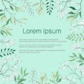 Text frame with green and contour leaves. Contour Clipart for use in design. Green postcard poster for greetings, invitations