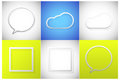 Text frame set cloud speech bubble Stock Photos