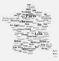 Text graphic france map with clouds Stock Photos