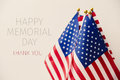 Text happy memorial day and american flags Royalty Free Stock Photo