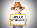 Text HELLO MY NAME IS. Royalty Free Stock Photo