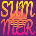 Text Hello Summer on background of sunset sun. Vector drawing in retro-futuristic style, neon color palette.