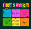 Text Homework and colorful sticky paper attached to a blackboard with magnets. Vector.