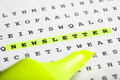 Text marker on word puzzle - Newsletter Royalty Free Stock Photo
