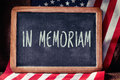 Text in memoriam and flag of the United States Royalty Free Stock Photo