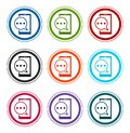 Text message phone icon flat round buttons set illustration design Royalty Free Stock Photo
