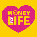 Text money for life inside heart on yellow background Stock Photos