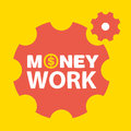 Text money work on a background of gears Royalty Free Stock Photography