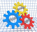Text plan, action, result - words in 3d colorful gear wheels