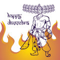 Text and Ravana in fire. Postcard for holiday in India. Happy Dussehra