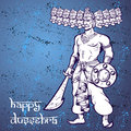 Text and Ravana. Postcard for holiday in India. Happy Dussehra