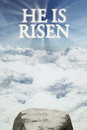 Text he is risen on the sky Royalty Free Stock Photo