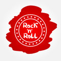 Text Rock n Roll in circular frame with the stars. Royalty Free Stock Photo