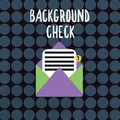 Text sign showing Background Check. Conceptual photo way to discover issues that could affect your business Royalty Free Stock Photo