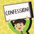 Text sign showing Confession. Conceptual photo Admission Revelation Disclosure Divulgence Utterance Assertion Young