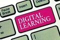 Text sign showing Digital Learning. Conceptual photo accompanied by technology or by instructional practice Royalty Free Stock Photo