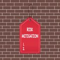 Text sign showing Risk Mitigation. Conceptual photo strategy to prepare for and lessen the effects of threats Empty tag blank Royalty Free Stock Photo
