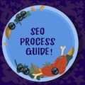 Text sign showing Seo Process Guide. Conceptual photo set actions improve online visibility website in engines Hand