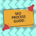 Text sign showing Seo Process Guide. Conceptual photo set actions improve online visibility website in engines Two