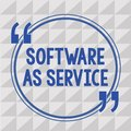 Text sign showing Software As Service. Conceptual photo On Demand licensed on Subscription and centrally hosted