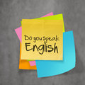 Text on sticky note paper do you speak english wall texture Stock Photography