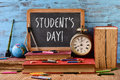 Text students day in a chalkboard Royalty Free Stock Photo