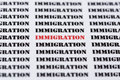 Text/typed word IMMIGRATION