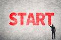 Text on wall, Start