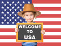 Text WELCOME TO USA. Royalty Free Stock Photo