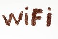Text Wi-Fi written with coffee beans Royalty Free Stock Photos