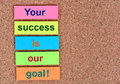 Text Your success is our goal on notes Royalty Free Stock Photo