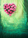 Textile background with rose heart Royalty Free Stock Photos